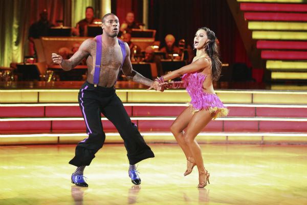 "<div class=""meta ""><span class=""caption-text "">NFL star Jacoby Jones and his partner Karina Smirnoff received 26 out of 30 points from the judges for their Jive during week five of 'Dancing With The Stars,' which aired on April 15, 2013. (ABC Photo / Adam Taylor)</span></div>"
