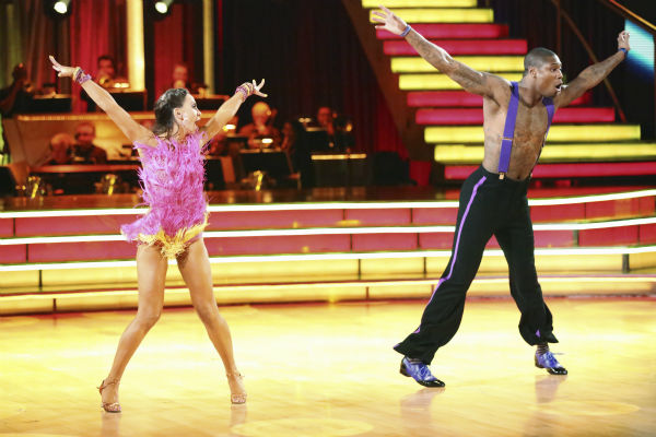 "<div class=""meta image-caption""><div class=""origin-logo origin-image ""><span></span></div><span class=""caption-text"">NFL star Jacoby Jones and his partner Karina Smirnoff received 26 out of 30 points from the judges for their Jive during week five of 'Dancing With The Stars,' which aired on April 15, 2013. (ABC Photo / Adam Taylor)</span></div>"
