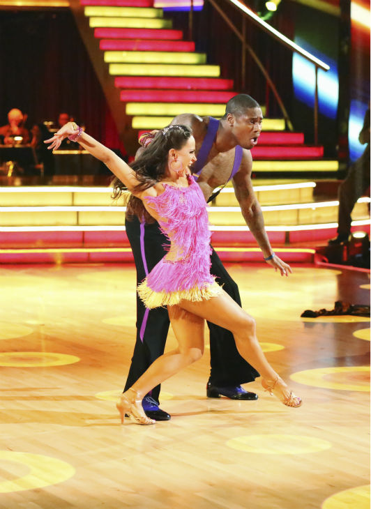 NFL star Jacoby Jones and his partner Karina Smirnoff received 26 out of 30 points from the judges for their Jive during week five of &#39;Dancing With The Stars,&#39; which aired on April 15, 2013. <span class=meta>(ABC Photo &#47; Adam Taylor)</span>