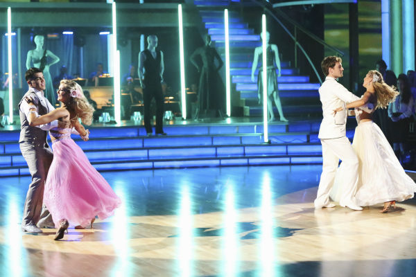 Boxer Victor Ortiz and his partner Lindsay Arnold received 21 out of 30 points from the judges for their Viennese Waltz during week five of &#39;Dancing With The Stars,&#39; which aired on April 15, 2013. Also pictured: Dancers Tristan MacManus and Emma Slater. <span class=meta>(ABC Photo &#47; Adam Taylor)</span>