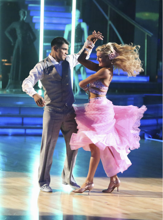 Boxer Victor Ortiz and his partner Lindsay Arnold received 21 out of 30 points from the judges for their Viennese Waltz during week five of &#39;Dancing With The Stars,&#39; which aired on April 15, 2013. <span class=meta>(ABC Photo &#47; Adam Taylor)</span>