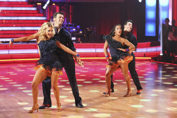 Olympic gymnast Aly Raisman and her partner Mark Ballas received 25 out of 30 points from the judges for their Samba dance during week five of &#39;Dancing With The Stars,&#39; which aired on April 15, 2013. Also pictured: Tony Dovolani and Witney Carson. <span class=meta>(ABC Photo &#47; Adam Taylor)</span>