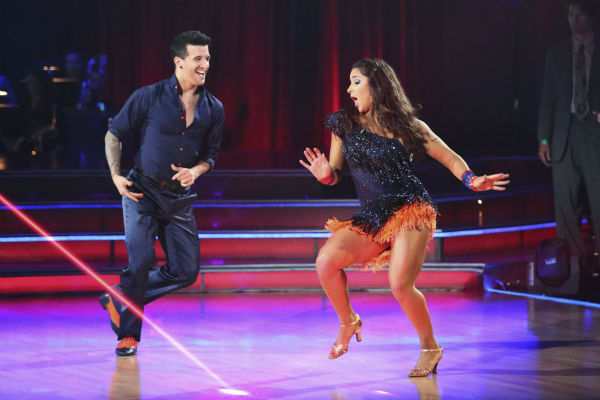 "<div class=""meta ""><span class=""caption-text "">Olympic gymnast Aly Raisman and her partner Mark Ballas received 25 out of 30 points from the judges for their Samba dance during week five of 'Dancing With The Stars,' which aired on April 15, 2013. Also pictured: Tony Dovolani and Witney Carson. (ABC Photo / Adam Taylor)</span></div>"