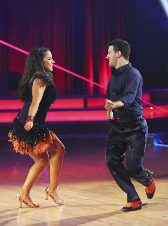 "<div class=""meta image-caption""><div class=""origin-logo origin-image ""><span></span></div><span class=""caption-text"">Olympic gymnast Aly Raisman and her partner Mark Ballas received 25 out of 30 points from the judges for their Samba dance during week five of 'Dancing With The Stars,' which aired on April 15, 2013. Also pictured: Tony Dovolani and Witney Carson. (ABC Photo / Adam Taylor)</span></div>"