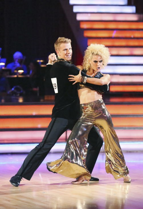 "<div class=""meta ""><span class=""caption-text "">Former 'Bachelor' star Sean Lowe and his partner Peta Murgatroyd dance the Quickstep alongside pro dancers Tristan MacManus and Chelsie Hightower on week five of 'Dancing With The Stars' on April 15, 2013. They received 24 out of 30 points from the judges. (ABC Photo / Adam Taylor)</span></div>"