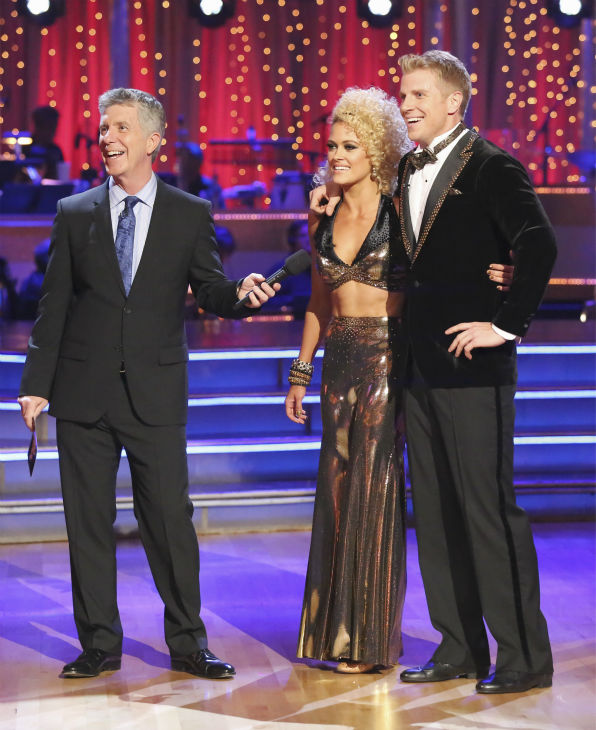 "<div class=""meta ""><span class=""caption-text "">Former 'Bachelor' star Sean Lowe and his partner Peta Murgatroyd dance the Quickstep alongside pro dancers Tristan MacManus and Chelsie Hightower on week five of 'Dancing With The Stars' on April 15, 2013. They received 24 out of 30 points from the judges. (ABC Photo/ Adam Taylor)</span></div>"