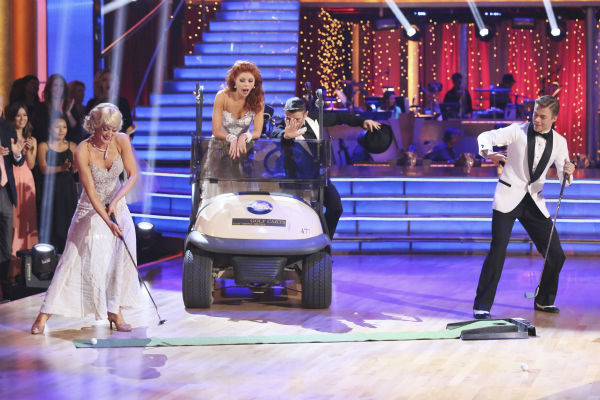 "<div class=""meta image-caption""><div class=""origin-logo origin-image ""><span></span></div><span class=""caption-text"">Kellie Pickler and partner Derek Hough received 27 out of 30 points from the judges for their Foxtrot during week five of 'Dancing With The Stars,' which aired on April 15, 2013. Also pictured: Dancers Anna Trebunskaya and Henry Byalikov. (ABC Photo / Adam Taylor)</span></div>"