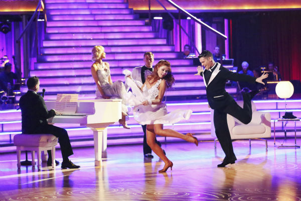 "<div class=""meta ""><span class=""caption-text "">Kellie Pickler and partner Derek Hough received 27 out of 30 points from the judges for their Foxtrot during week five of 'Dancing With The Stars,' which aired on April 15, 2013. Also pictured: Dancers Anna Trebunskaya and Henry Byalikov. (ABC Photo / Adam Taylor)</span></div>"