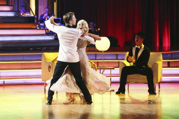 "<div class=""meta ""><span class=""caption-text "">Kellie Pickler and partner Derek Hough received 27 out of 30 points from the judges for their Foxtrot during week five of 'Dancing With The Stars,' which aired on April 15, 2013. Also pictured: Dancer Henry Byalikov. (ABC Photo / Adam Taylor)</span></div>"