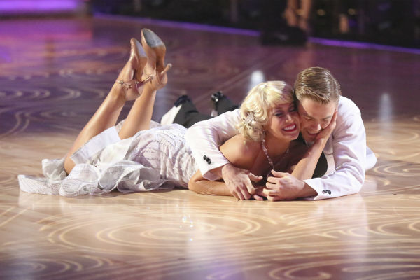 "<div class=""meta ""><span class=""caption-text "">Kellie Pickler and partner Derek Hough received 27 out of 30 points from the judges for their Foxtrot during week five of 'Dancing With The Stars,' which aired on April 15, 2013. (ABC Photo / Adam Taylor)</span></div>"