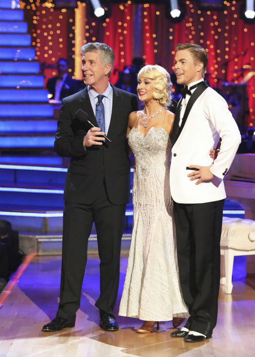 "<div class=""meta ""><span class=""caption-text "">Kellie Pickler and partner Derek Hough received 27 out of 30 points from the judges for their Foxtrot during week five of 'Dancing With The Stars,' which aired on April 15, 2013. (Photo / Adam Taylor)</span></div>"
