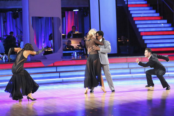 "<div class=""meta ""><span class=""caption-text "">Actor and comedian D.L. Hughley and his partner Cheryl Burke received 18 out of 30 points from the judges for their Tango during week five of 'Dancing With The Stars,' which aired on April 15, 2013. Also pictured: Dancers Sasha Farber and Chelsie Hightower. (ABC Photo / Adam Taylor)</span></div>"