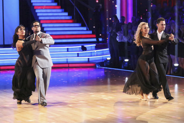 "<div class=""meta image-caption""><div class=""origin-logo origin-image ""><span></span></div><span class=""caption-text"">Actor and comedian D.L. Hughley and his partner Cheryl Burke received 18 out of 30 points from the judges for their Tango during week five of 'Dancing With The Stars,' which aired on April 15, 2013. Also pictured: Dancers Sasha Farber and Chelsie Hightower. (ABC Photo / Adam Taylor)</span></div>"