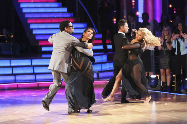 Actor and comedian D.L. Hughley and his partner Cheryl Burke received 18 out of 30 points from the judges for their Tango during week five of &#39;Dancing With The Stars,&#39; which aired on April 15, 2013. Also pictured: Dancers Sasha Farber and Chelsie Hightower. <span class=meta>(ABC Photo &#47; Adam Taylor)</span>