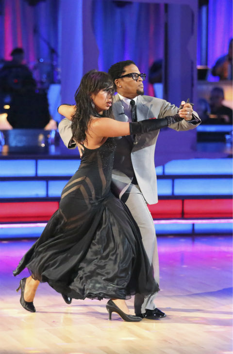 Actor and comedian D.L. Hughley and his partner Cheryl Burke received 18 out of 30 points from the judges for their Tango during week five of &#39;Dancing With The Stars,&#39; which aired on April 15, 2013. <span class=meta>(ABC Photo &#47; Adam Taylor)</span>