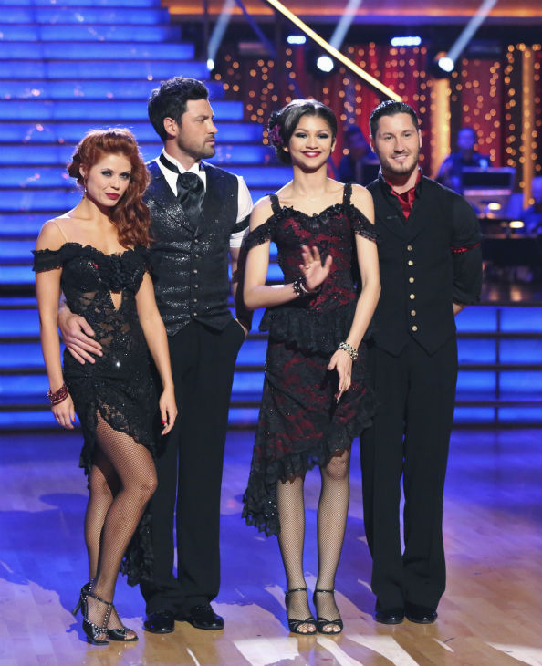 "<div class=""meta image-caption""><div class=""origin-logo origin-image ""><span></span></div><span class=""caption-text"">'Shake It Up' actress Zendaya Coleman and regular partner Val Chmerkovskiy dance the Argentine Tango alongside pro dancers Maksim Chmerkovskiy and Anna Trebunskaya on week five of 'Dancing With The Stars' on April 15, 2013. They received 29 out of 30 points from the judges. Also pictured: Dancers Anna Trebunskaya and Maksim Chmerkovskiy. (ABC Photo / Adam Taylor)</span></div>"