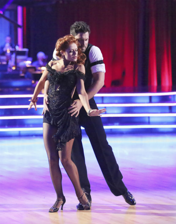 &#39;Shake It Up&#39; actress Zendaya Coleman and regular partner Val Chmerkovskiy dance the Argentine Tango alongside pro dancers Maksim Chmerkovskiy and Anna Trebunskaya on week five of &#39;Dancing With The Stars&#39; on April 15, 2013. They received 29 out of 30 points from the judges. Pictured here: Their guest partners, dancers Anna Trebunskaya and Maksim Chmerkovskiy. <span class=meta>(ABC Photo &#47; Adam Taylor)</span>
