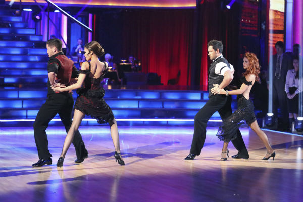 'Shake It Up' actress Zendaya Coleman and regular partner Val Chmerkovskiy dance the Argentine Tango alongside pro dancers Maksim Chmerkovskiy and Anna Trebunskaya on week five of 'Dancing With The Stars' on April 15, 2013. They received 29 out of 30 poin
