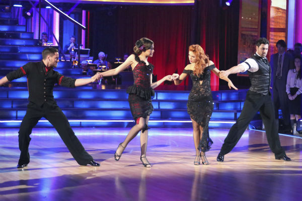 &#39;Shake It Up&#39; actress Zendaya Coleman and regular partner Val Chmerkovskiy dance the Argentine Tango alongside pro dancers Maksim Chmerkovskiy and Anna Trebunskaya on week five of &#39;Dancing With The Stars&#39; on April 15, 2013. They received 29 out of 30 points from the judges. Also pictured: Dancers Anna Trebunskaya and Maksim Chmerkovskiy. <span class=meta>(ABC Photo &#47; Adam Taylor)</span>