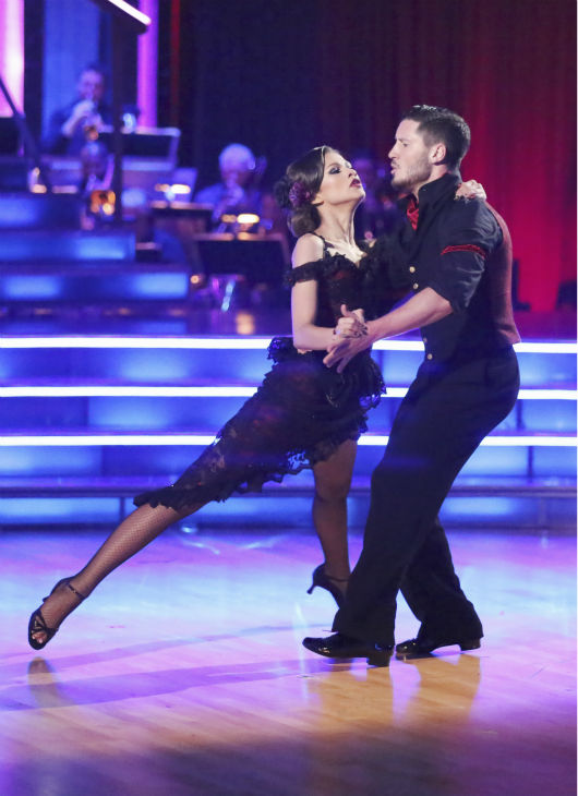 "<div class=""meta ""><span class=""caption-text "">'Shake It Up' actress Zendaya Coleman and regular partner Val Chmerkovskiy dance the Argentine Tango alongside pro dancers Maksim Chmerkovskiy and Anna Trebunskaya on week five of 'Dancing With The Stars' on April 15, 2013. They received 29 out of 30 points from the judges.  (ABC Photo / Adam Taylor)</span></div>"