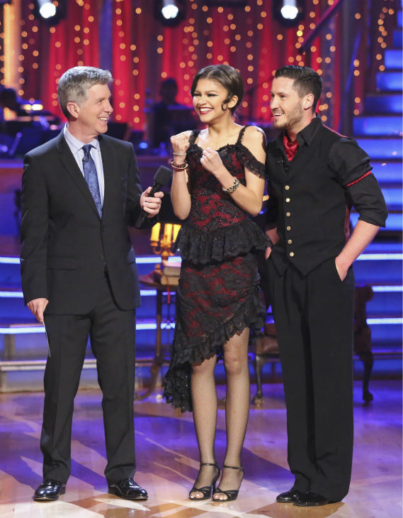 &#39;Shake It Up&#39; actress Zendaya Coleman and regular partner Val Chmerkovskiy danced the Argentine Tango alongside pro dancers Maksim Chmerkovskiy and Anna Trebunskaya on week five of &#39;Dancing With The Stars&#39; on April 15, 2013. <span class=meta>(ABC Photo &#47; Adam Taylor)</span>