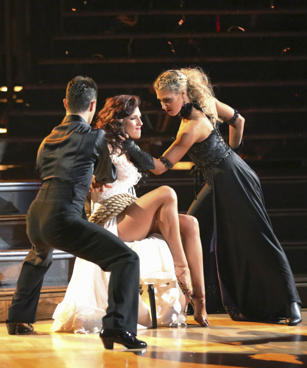 Actor and comedian Andy Dick and his partner Sharna Burgess received 18 out of 30 points from the judges for their Paso Doble during week five of &#39;Dancing With The Stars,&#39; which aired on April 15, 2013.  Also pictured: Dancer Emma Slater. <span class=meta>(ABC Photo &#47; Adam Taylor)</span>