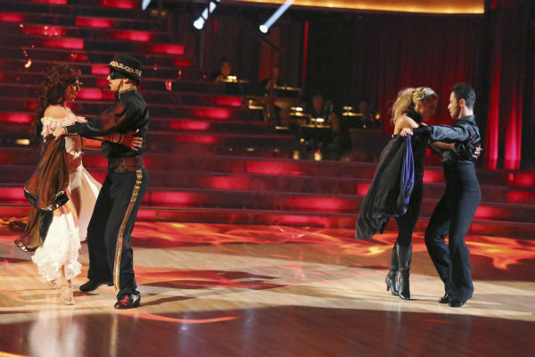 "<div class=""meta image-caption""><div class=""origin-logo origin-image ""><span></span></div><span class=""caption-text"">Actor and comedian Andy Dick and his partner Sharna Burgess received 18 out of 30 points from the judges for their Paso Doble during week five of 'Dancing With The Stars,' which aired on April 15, 2013. Also pictured: Dancers Emma Slater and Sasha Farber. (ABC Photo / Adam Taylor)</span></div>"