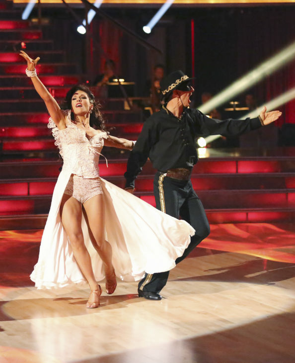 "<div class=""meta image-caption""><div class=""origin-logo origin-image ""><span></span></div><span class=""caption-text"">Actor and comedian Andy Dick and his partner Sharna Burgess received 18 out of 30 points from the judges for their Paso Doble during week five of 'Dancing With The Stars,' which aired on April 15, 2013. (ABC Photo / Adam Taylor)</span></div>"