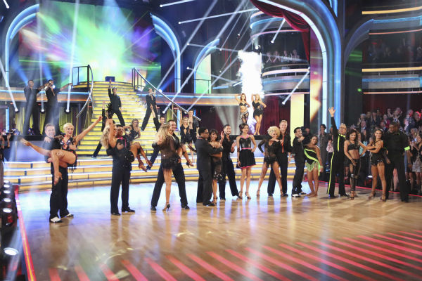 "<div class=""meta image-caption""><div class=""origin-logo origin-image ""><span></span></div><span class=""caption-text"">The cast of 'Dancing With The Stars' appears on week five of the ABC show on April 15, 2013. (ABC Photo / Adam Taylor)</span></div>"