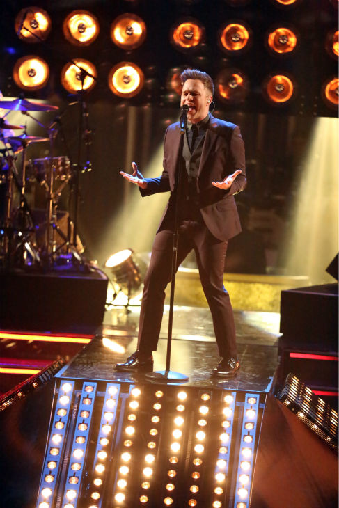 Olly Murs performs his new single 'Troublemaker' on 'Dancing With The Stars: The Results Show' on April 23, 2013.
