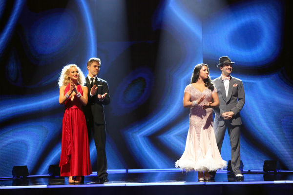 Kellie Pickler and Derek Hough and Aly Raisman and Mark Ballas await their fate on &#39;Dancing With The Stars: The Results Show&#39; on April 23, 2013. <span class=meta>(ABC Photo &#47; Adam Taylor)</span>