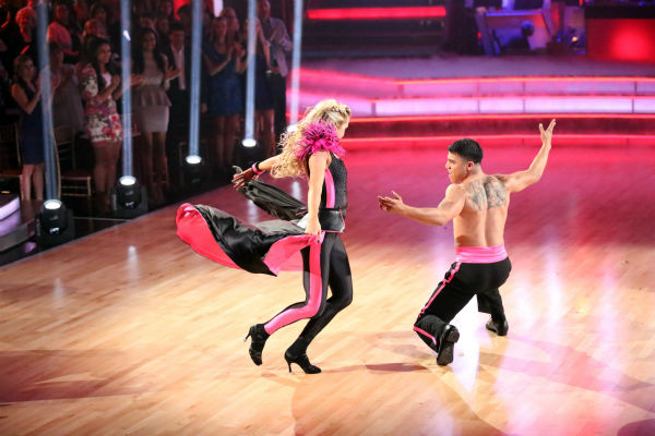 Victor Ortiz and Lindsay Arnold perform an encore of the team Paso Doble dance on week six of 'Dancing With The Stars,' which aired on April 23, 2013.