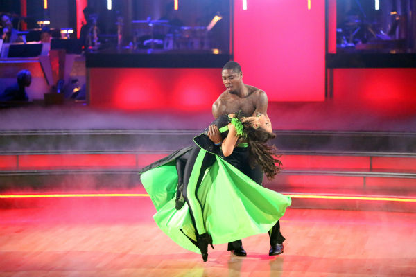 Jacoby Jones and Karina Smirnoff perform an encore of the team Paso Doble dance on week six of 'Dancing With The Stars,' which aired on April 23, 2013.
