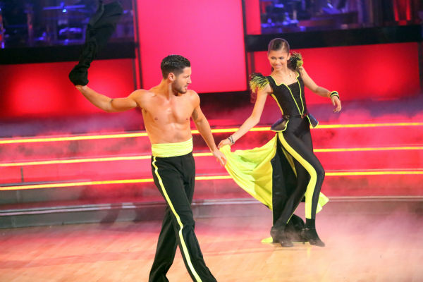 "<div class=""meta ""><span class=""caption-text "">Zendaya and Val Chmoerkovskiy perform an encore of the team Paso Doble dance on week six of 'Dancing With The Stars,' which aired on April 23, 2013. (ABC Photo / Adam Taylor)</span></div>"