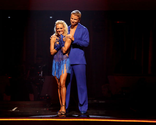 Former 'Bachelor' star Sean Lowe and his partner Peta Murgatroyd await their fate on 'Dancing With The Stars: The Results Show' on April 23, 2013.