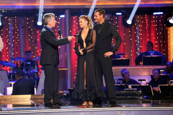 Actor Ingo Rademacher and his partner Kym Johnson await their fate on 'Dancing With The Stars: The Results Show' on April 23, 2013.