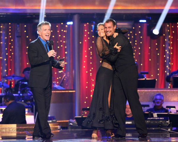 Actor Ingo Rademacher and his partner Kym Johnson react to being safe on 'Dancing With The Stars: The Results Show' on April 23, 2013.