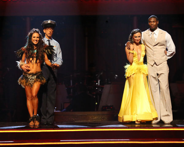 Andy Dick and Sharna Burgess and Jacoby Jones and Karina Smirnoff await their fate on &#39;Dancing With The Stars: The Results Show&#39; on April 23, 2013. <span class=meta>(ABC Photo &#47; Adam Taylor)</span>