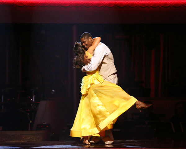 "<div class=""meta ""><span class=""caption-text "">NFL star Jacoby Jones and his partner Karina Smirnoff react to being safe from elimination on 'Dancing With The Stars: The Results Show' on April 23, 2013. The pair received 23 out of 30 points from the judges for their Quickstep dance on week six of 'Dancing With The Stars,' which aired on April 22, 2013. (ABC Photo / Adam Taylor)</span></div>"