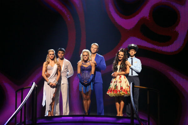 Victor Ortiz and Lindsay Arnold, Sean Lowe and Peta Murgatroyd and Andy Dick and Sharna Burgess await their fate on 'Dancing With The Stars: The Results Show' on April 23, 2013.