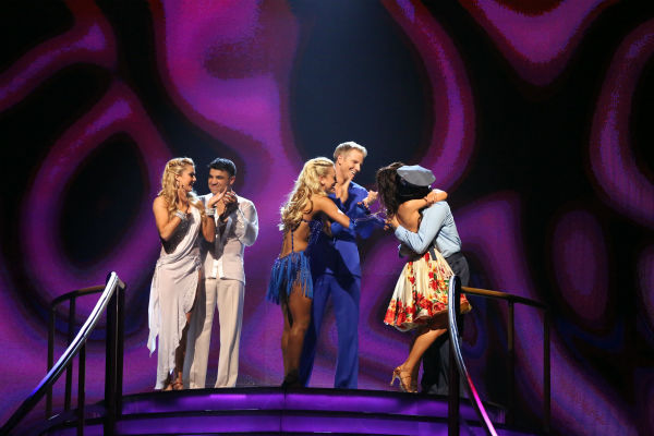 Victor Ortiz and Lindsay Arnold and Sean Lowe and Peta Murgatroyd react to the announcement that Andy Dick and Sharna Burgess are safe on &#39;Dancing With The Stars: The Results Show&#39; on April 23, 2013. <span class=meta>(ABC Photo &#47; Adam Taylor)</span>