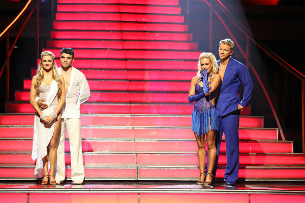 Victor Ortiz and Lindsay Arnold and Sean Lowe and Peta Murgatroyd await their fate on 'Dancing With The Stars: The Results Show' on April 23, 2013.