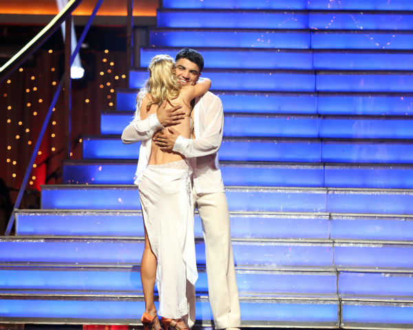 Boxer Victor Ortiz and his partner Lindsay Arnold react to their elimination on &#39;Dancing With The Stars: The Results Show&#39; on April 23, 2013. The pair received 18 out of 30 points from the judges for their Rumba on week six of &#39;Dancing With The Stars,&#39; which aired on April 22, 2013.  <span class=meta>(ABC Photo &#47; Adam Taylor)</span>