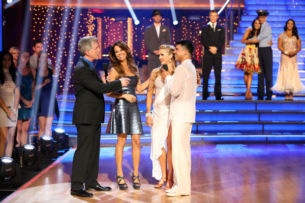Boxer Victor Ortiz and his partner Lindsay Arnold react to their elimination on 'Dancing With The Stars: The Results Show' on April 23, 2013.