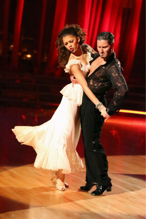 "<div class=""meta image-caption""><div class=""origin-logo origin-image ""><span></span></div><span class=""caption-text"">'Shake It Up' actress Zendaya and partner Val Chmerkovskiy dance the Paso Doble on week seven of 'Dancing With The Stars' on April 29, 2013. They received 27 out of 30 points from the judges. (ABC Photo / Adam Taylor)</span></div>"