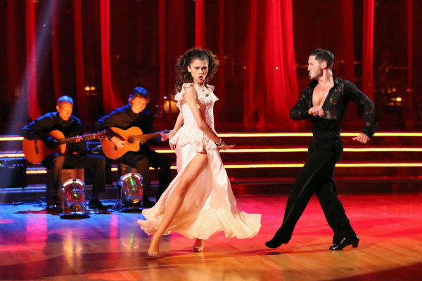"<div class=""meta ""><span class=""caption-text "">'Shake It Up' actress Zendaya and partner Val Chmerkovskiy dance the Paso Doble on week seven of 'Dancing With The Stars' on April 29, 2013. They received 27 out of 30 points from the judges. (ABC Photo / Adam Taylor)</span></div>"