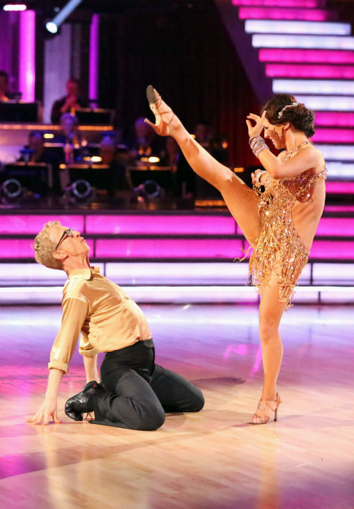 "<div class=""meta image-caption""><div class=""origin-logo origin-image ""><span></span></div><span class=""caption-text"">Andy Dick, Aly Raisman and their partners compete in a Cha Cha Cha dance-off to earn three extra points from the judges on week seven of 'Dancing With The Stars' on April 29, 2013. (ABC Photo / Adam Taylor)</span></div>"