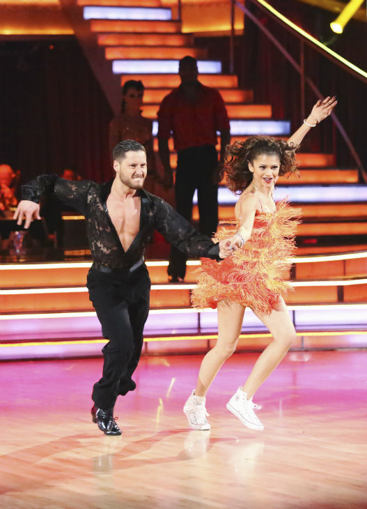 Zendaya, Jacoby Jones and their partners compete in a Jive dance-off to earn three extra points from the judges on week seven of 'Dancing With The Stars' on April 29, 2013.