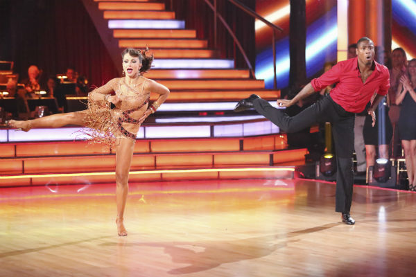 "<div class=""meta image-caption""><div class=""origin-logo origin-image ""><span></span></div><span class=""caption-text"">Zendaya, Jacoby Jones and their partners compete in a Jive dance-off to earn three extra points from the judges on week seven of 'Dancing With The Stars' on April 29, 2013. (ABC Photo / Adam Taylor)</span></div>"