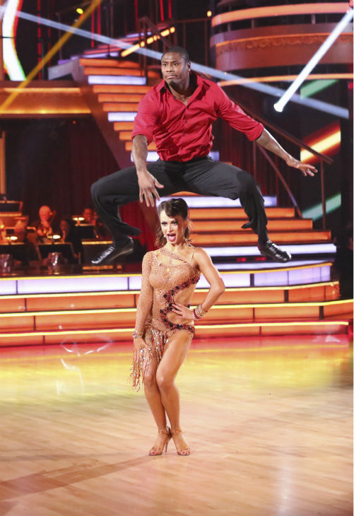"<div class=""meta ""><span class=""caption-text "">Zendaya, Jacoby Jones and their partners compete in a Jive dance-off to earn three extra points from the judges on week seven of 'Dancing With The Stars' on April 29, 2013. (ABC Photo / Adam Taylor)</span></div>"